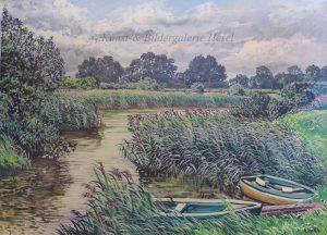 Boote am schilfbewachsenem Flusslauf der Jümme, Künstler: Karl Jänich, Stickhausen