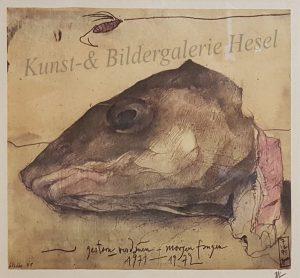 Horst Janssen Litografie Fischkopf